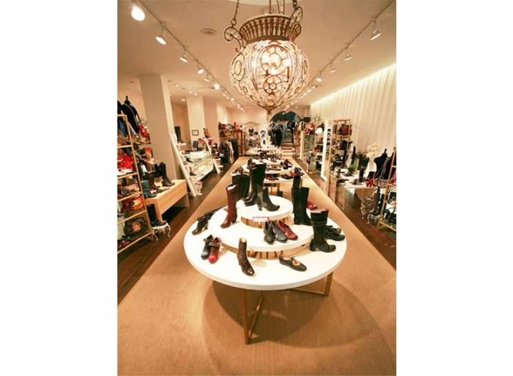 Fall Boots: A Vancouver shoe store, with a round white table covered in boots