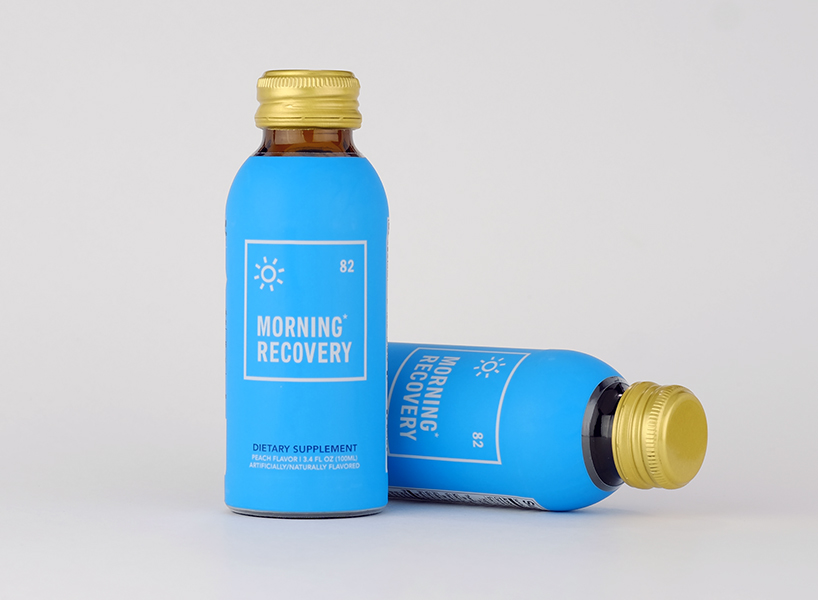 "Hangover prevention: A picture of two bottles with a blue label that says ""morning recovery"" on them, a hangover remedy product from silicon valley"