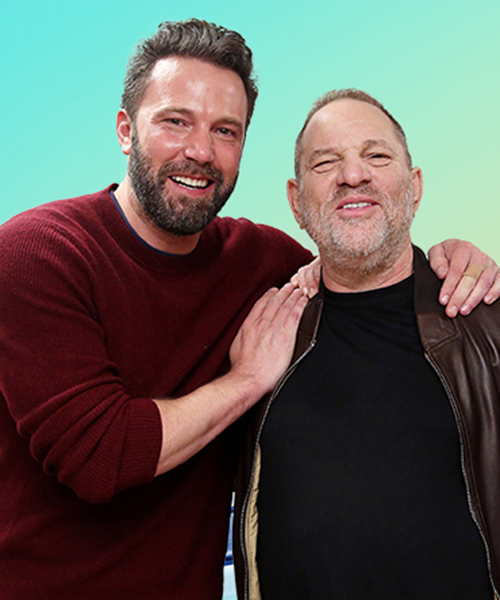 Ben Affleck poses with Harvey Weinstein in a photo from October 7, 2016