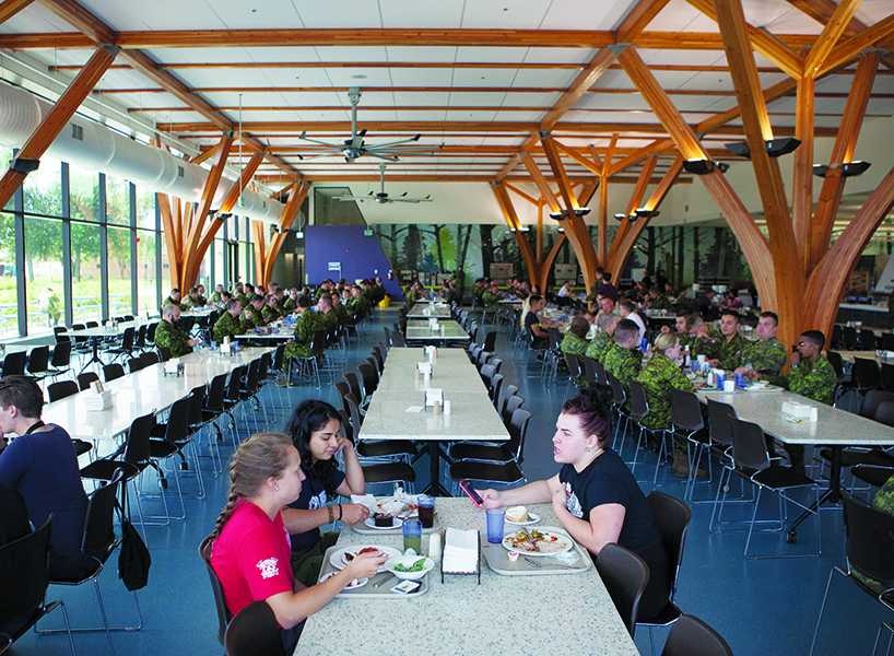 Canadian Armed Forces: The exceptionally ordered cafeteria, where the Women in Force participants ate, separated from CAF members.