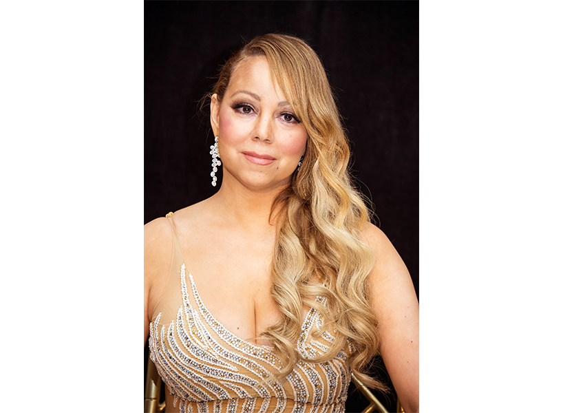 mariah carey on red carpet in sparkly spaghetti strap dress