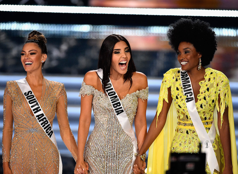 LAS VEGAS, NV - NOVEMBER 26: (L-R) Top 3 finalists Miss South Africa 2017 Demi-Leigh Nel-Peters, Miss Colombia 2017 Laura Gonzalez, and Miss Jamaica 2017 Davina Bennett compete during the 2017 Miss Universe Pageant at The Axis at Planet Hollywood Resort & Casino on November 26, 2017 in Las Vegas, Nevada. (Photo by Frazer Harrison/Getty Images)