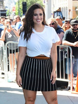 Best Dressed Celebs 2017: Ashley Graham in a white tee and striped mini skirt