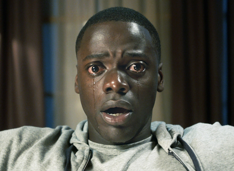 Golden Globes 2018 nominees: A screenshot of the lead actor from Get Out, looking scared and surprised with a single tear rolling down his cheek