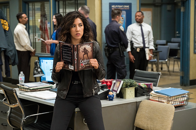 Stephanie Beatriz posing as Rosa Diaz on Brooklyn Nine-Nine