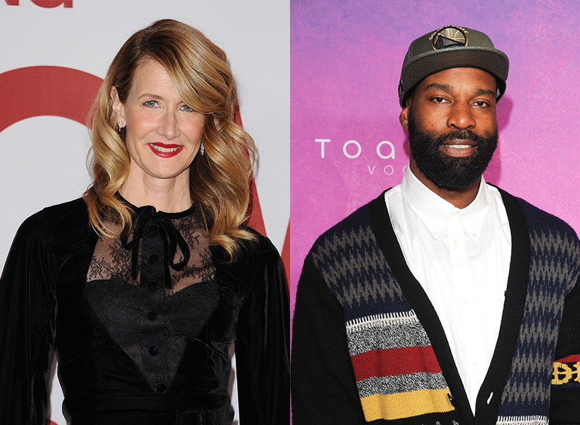 Laura Dern next to Baron Davis