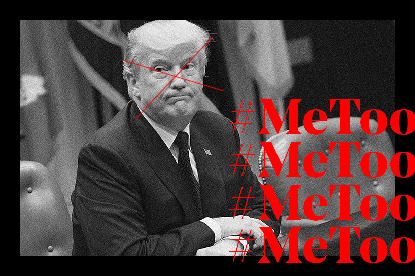 Donald Trump Person of the Year: Trump's face covered with a red x next to the words #MeToo