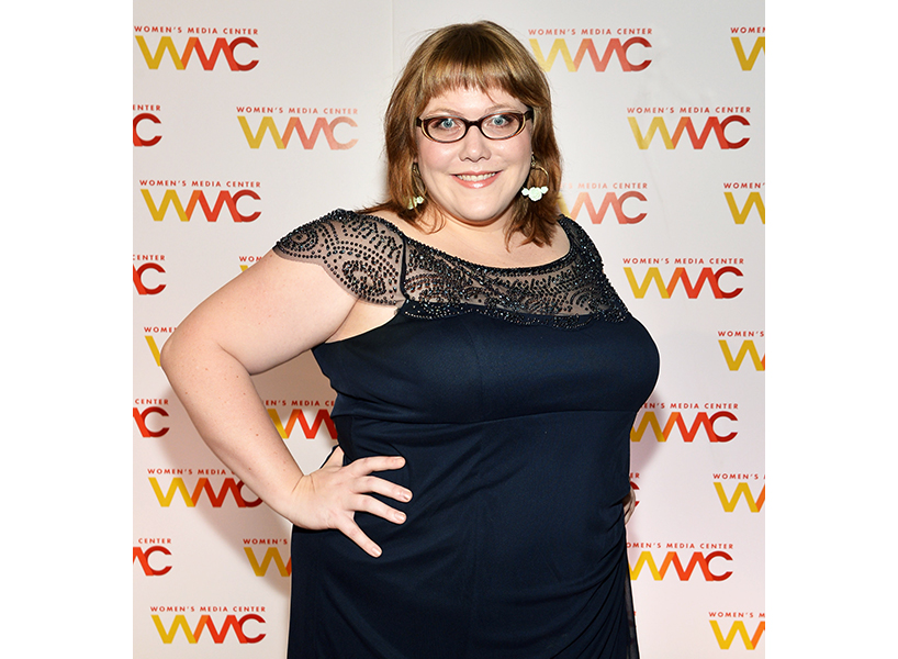 A photo of Lindy West in a black dress at a Women's Media Centre event