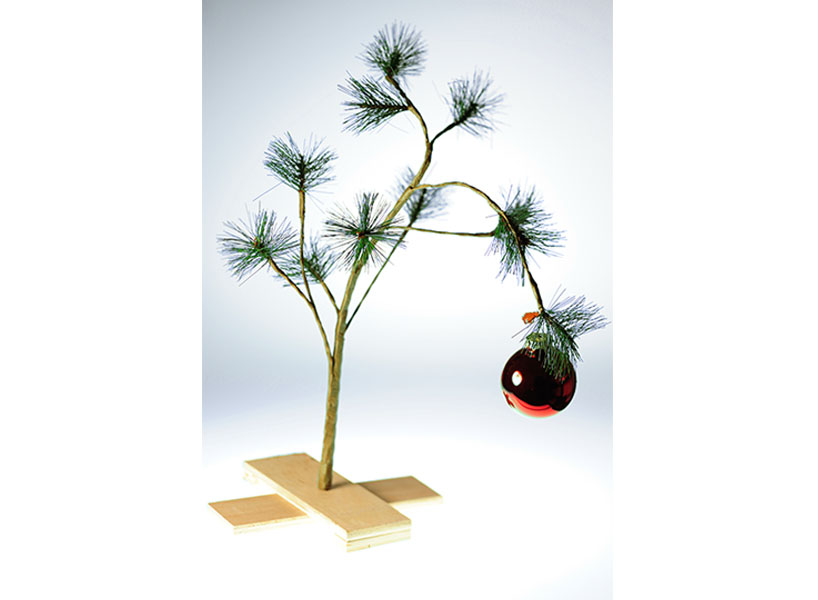 A photo of a Charlie Brown-esque Christmas tree