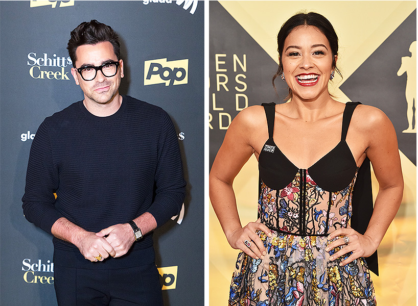 Schitt's Creek star Dan Levy on the left at an event wearing a sweater and glasses and on the right is a photo of Gina Rodriguez, star of Jane the Virgin, and the SAG Awards
