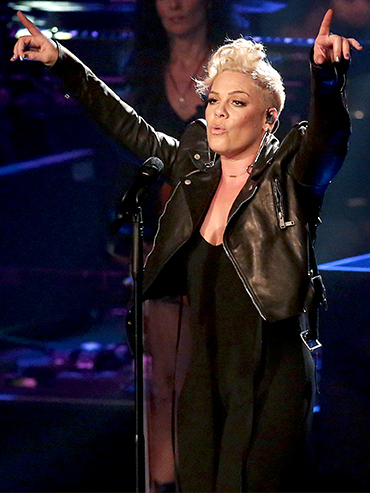 Pink dressed all in black while performing at her concert