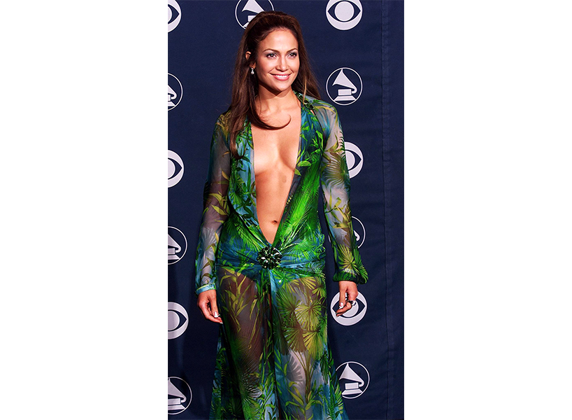 Jennifer Lopez at the GRAMMYs in 2000 wearing a green dress