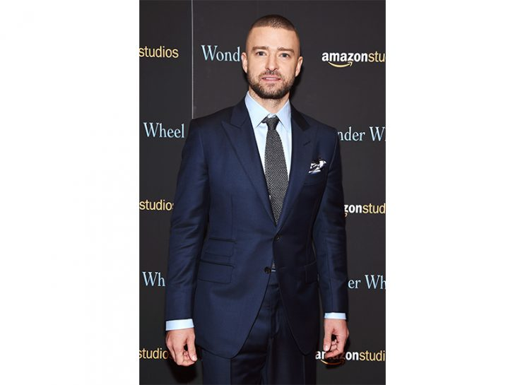 Justin Timberlake Dylan Farrow: Timberlake at an Amazon event wearing a navy suit and light blue shirt