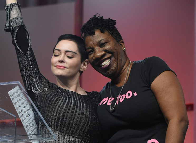 Rose McGowan Citizen Rose: Rose McGowan and Tarana Burke on stage at The Women's Convention at Cobo Center on October 27, 2017 in Detroit, Michigan