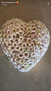 Blush-coloured roses in the shape of a heart gifted to Kim Kardashian.