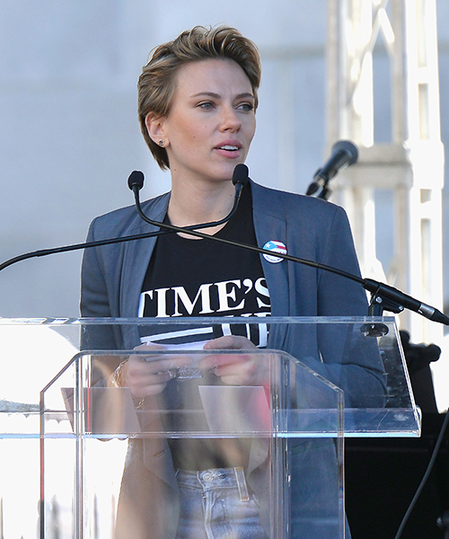 Scarlett Johansson speaks during the Womens March Los Angeles 2018 on January 20, 2018