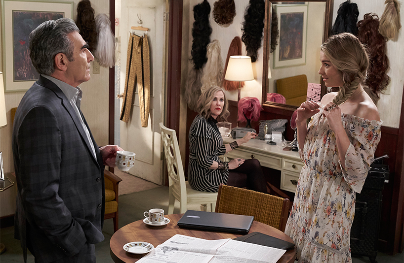 Eugene Levy, who plays Johnny, Catherine O'Hara, who plays Moira, and Annie Murphy, who plays Alexis, in a scene from Schitt's Creek season 4