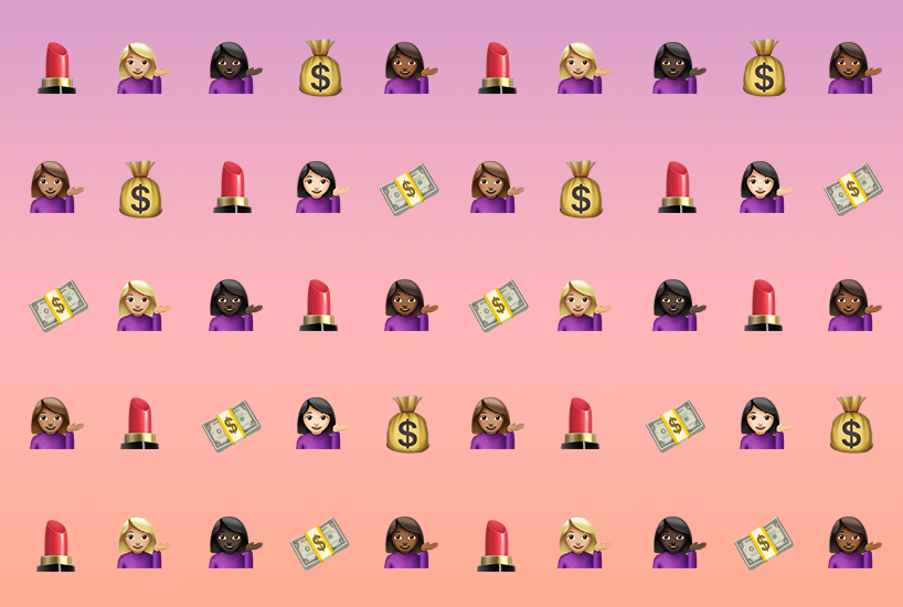 Five rows and five columns of repeating emoji women, bags of money, lipsticks and dollar bills