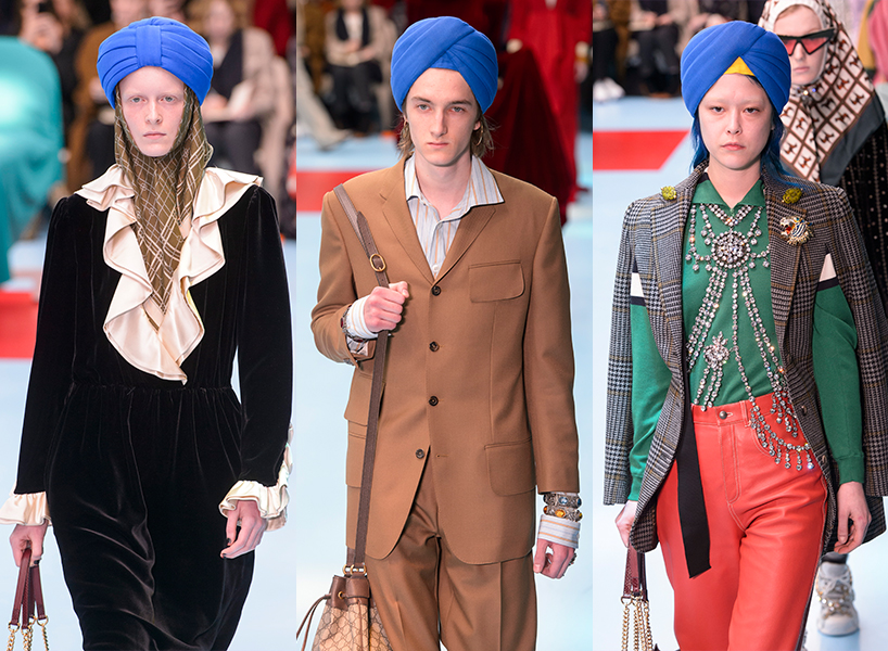 Gucci turbans on models on their fall '18 runway