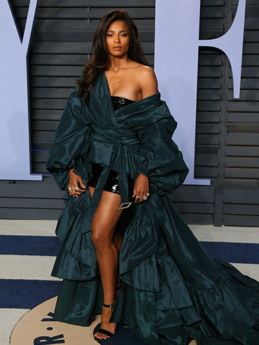 Ciara in a green gown at the Oscars Vanity Fair party 2018