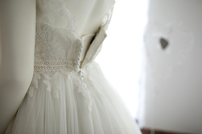 The back of a wedding gown