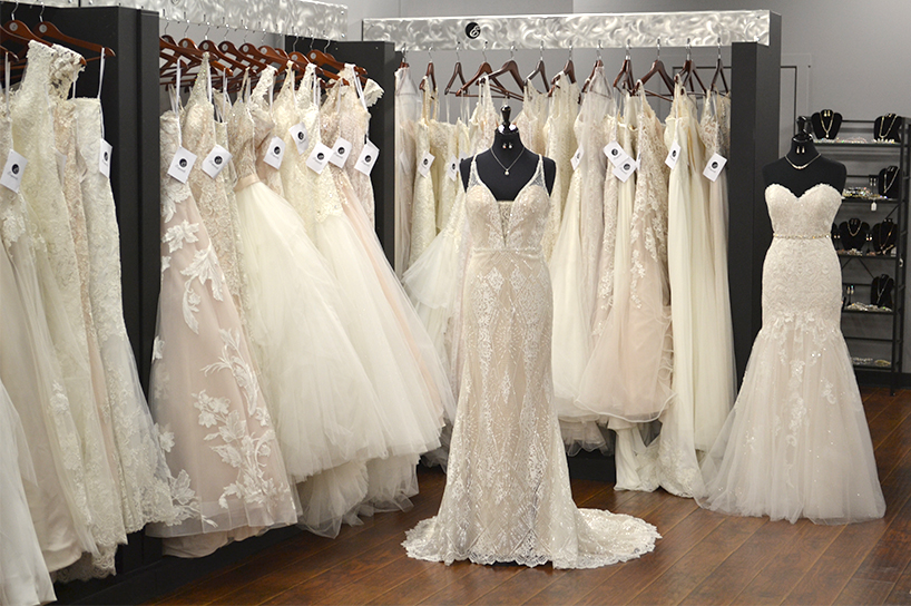 The interior of Unveiled bridal shop