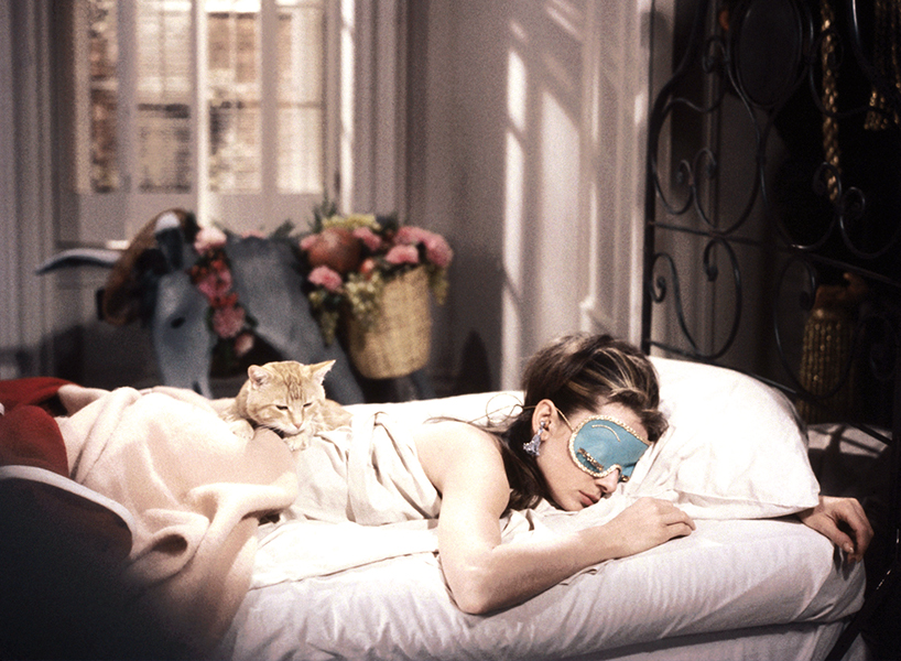 Audrey Hepburn sleeping in a scene from Breakfast at Tiffany's
