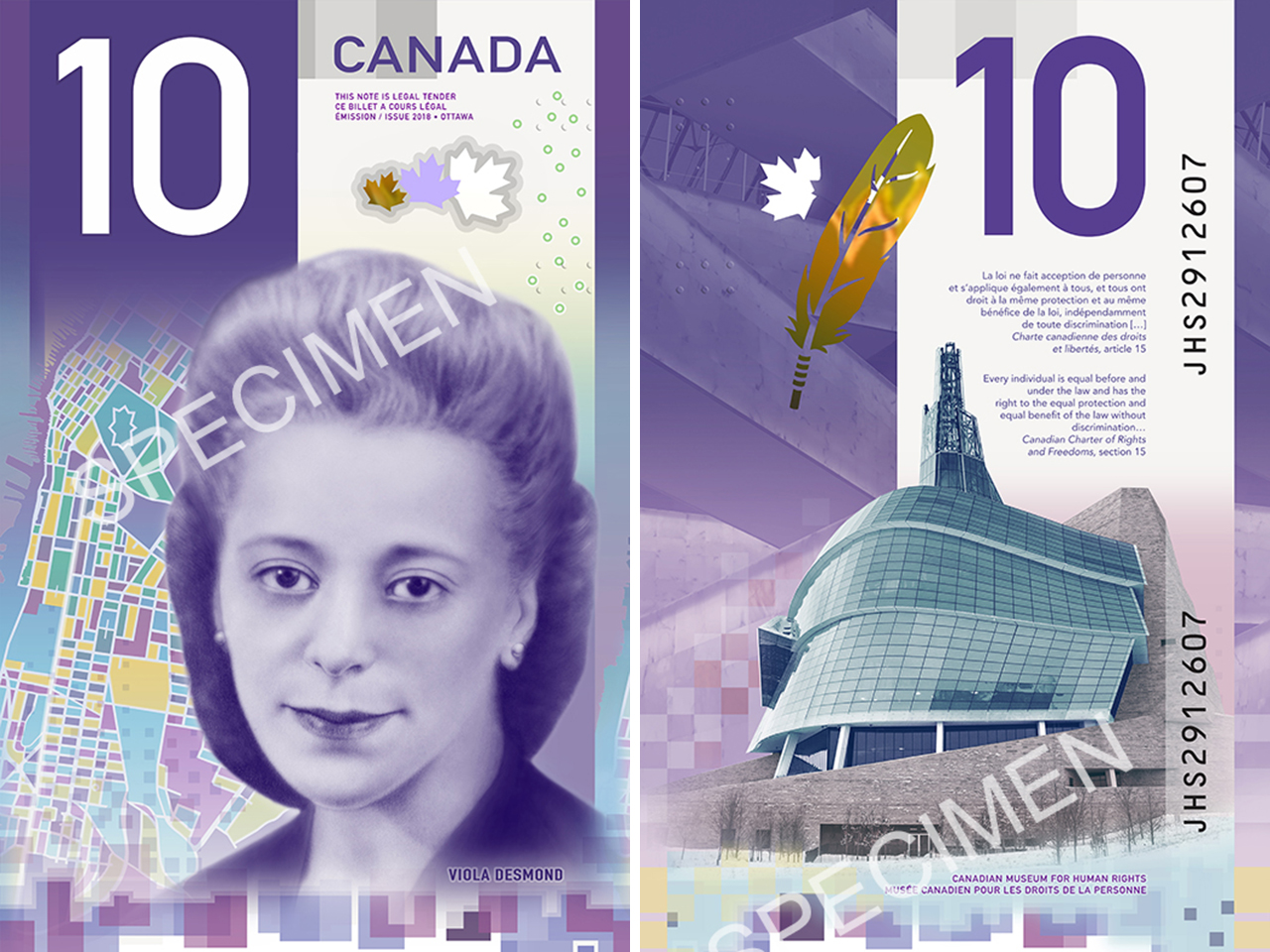 A image of the new $10 bill with Viola Desmond on it