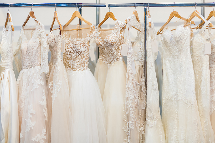 A row of bridal gowns