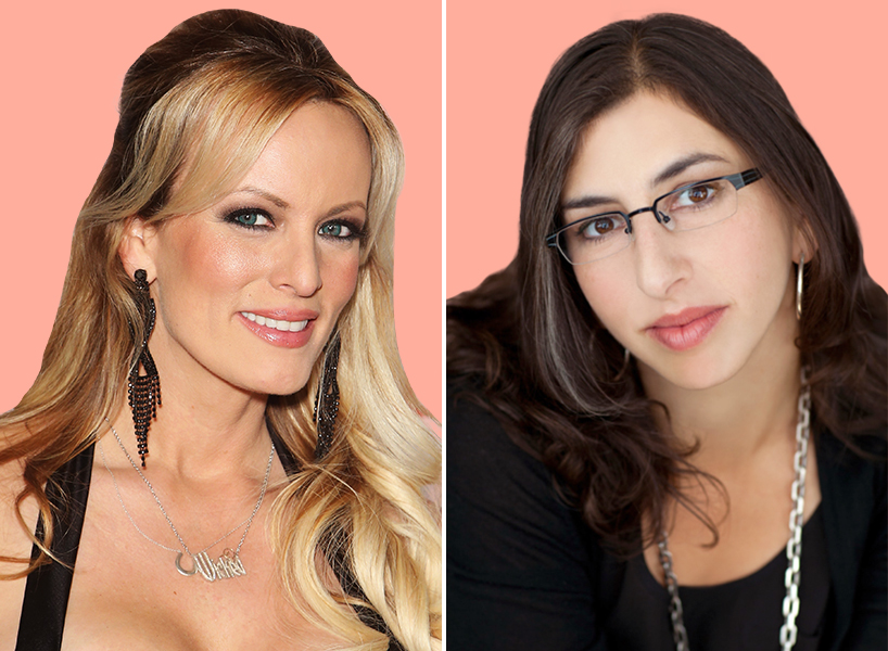 A side by side photo of Stormy Daniels and Rabbi Danya Ruttenberg