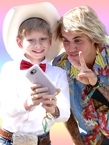 "Justin Bieber poses with Mason ""Yodel Boy"" Ramsey. Bieber was one of many celebs at Coachella 2018."