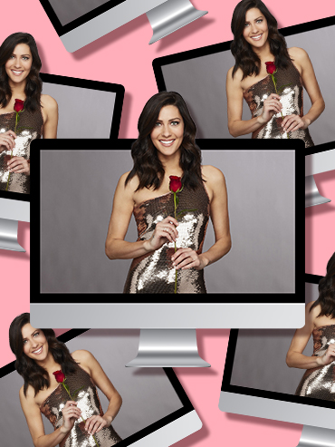 Watch The Bachelorette Season 14: Becca Kufrin pops out of a Mac desktop computer in a shimmery gold dress. This picture is a representation on how viewers can watch The Bachelorette Season 14 online for free.