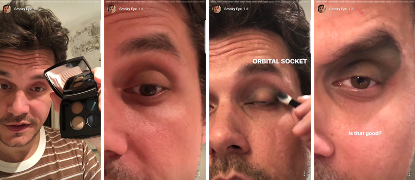 John Mayer Makeup Tutorial photos that were taking from his smokey eye Instagram tutorial. Mayer holds a Chanel eyeshadow Palette (far left), Mayer applies the first later of eyeshadow (middle left), Mayer applies more eyeshadow to the outskirts of the eye (middle right), Mayer exhibits his fully-finished look (right).