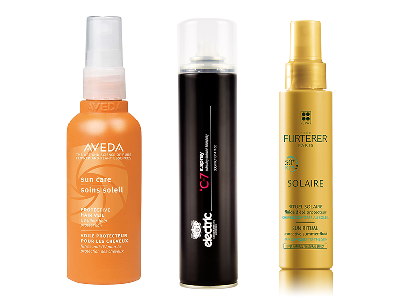 Aveda Sun Care Protective Veil, Electric C-7 eSpray and Rene Furterer Protective Summer Fluid can be used to sheild your pastel hair trend from the sun