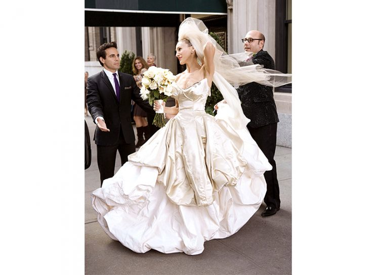 66b55c3d8 Sarah Jessica Parker's Vivienne Westwood bridal moment was the most OTT  look in the first Sex and the City movie. Now the actress and footwear  designer—who ...