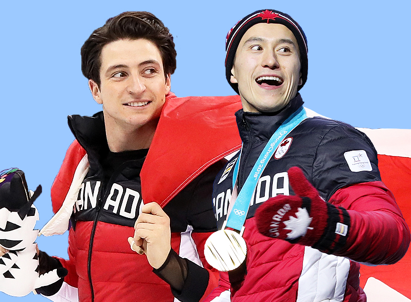 Scott Moir Patrick Chan: Scott Moir and Patrick Chan in their Team Canada gear looking over their shoulders