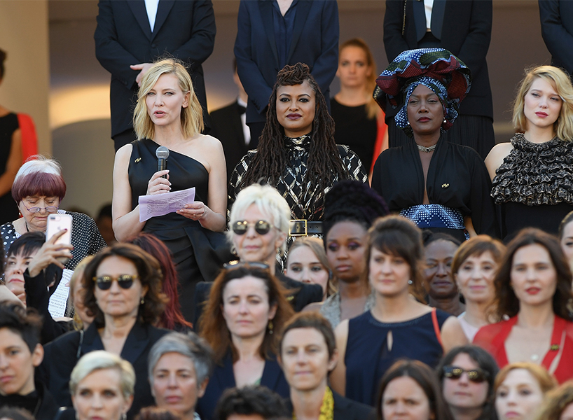 Cannes Film Festival 2018 protest: Cate Blanchett makes a speech surrounded by 81 other women in the film industry at the Cannes Film Festival