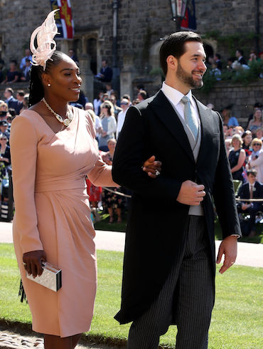 WINDSOR, UNITED KINGDOM - MAY 19: Serena Williams and Alexis Ohanian arrive for the wedding ceremony of Britain's Prince Harry and US actress Meghan Markle at St George's Chapel, Windsor Castle on May 19, 2018 in Windsor, England. (Photo by Chris Radburn - WPA Pool/Getty Images)