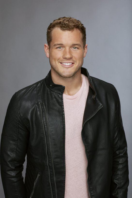 Bachelorette season 14 episode 2: A photo of contestant Colton in a black leather jacket and light pink t-shirt