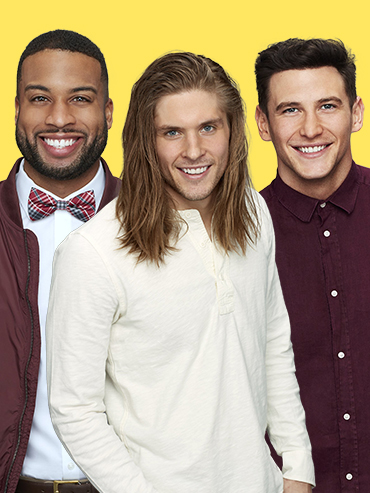 A photo of three contestants from Becca's season of The Bachelorette