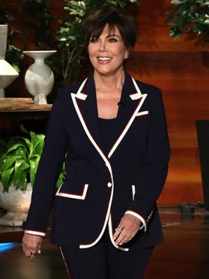 Kris Jenner Tristan Thompson Kanye: Kris Jenner appearing on The Ellen DeGeneres show wearing a black pantsuit with white piping