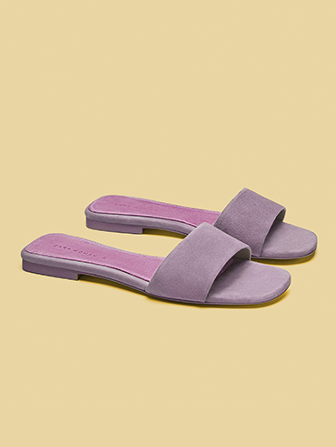 Zara Leather Slides, Lavender Fashion