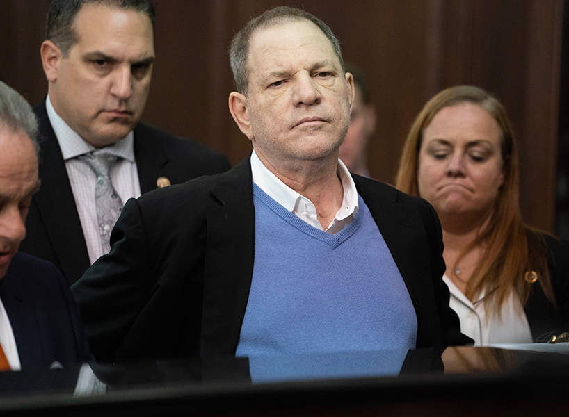 Harvey Weinstein in court after being charged with sexual assault