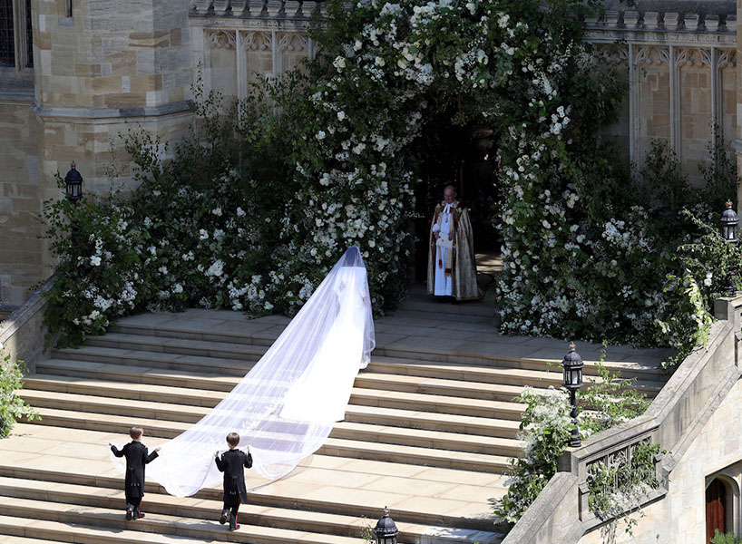 Meghan Markle's dress train on the steps of the cathedral