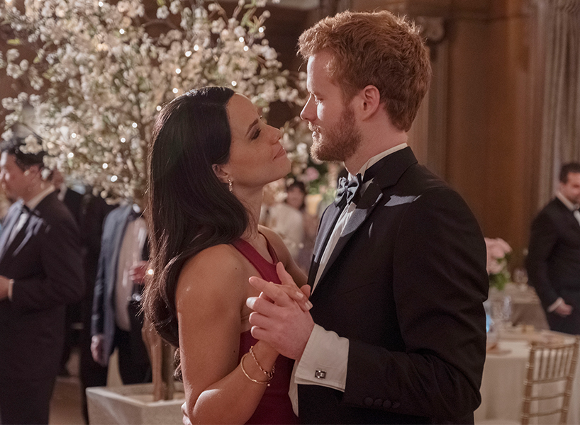 Parisa Fitz-Henley as Meghan Markle dances with Murray Fraser as Prince Harry in Lifetime's Harry & Meghan: A Royal Romance (Photo courtesy of Corus)