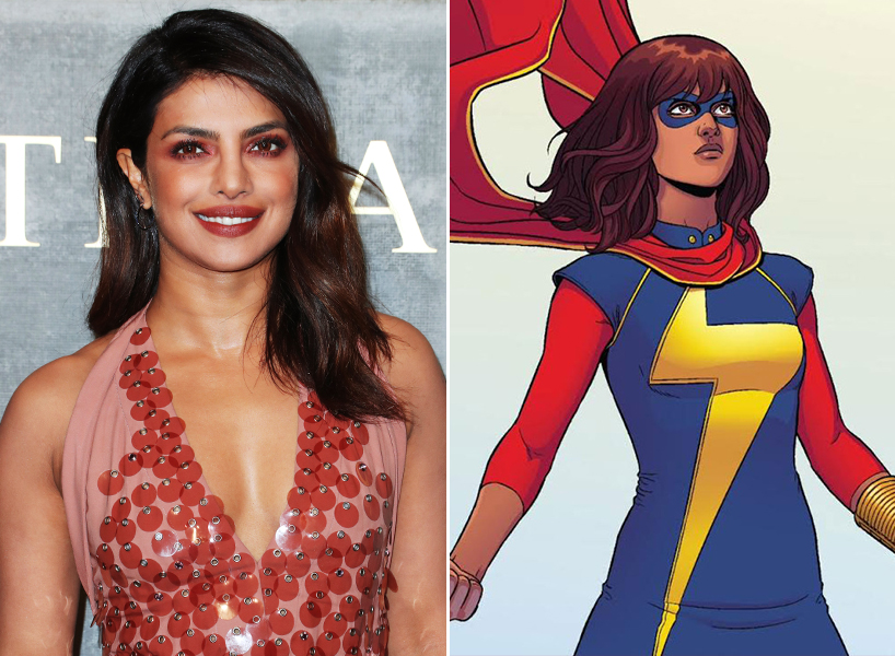Priyanka Chopra Ms Marvel: Actor Priyanka Chopra pictured next to comic book character Ms Marvel, aka Kamala Khan