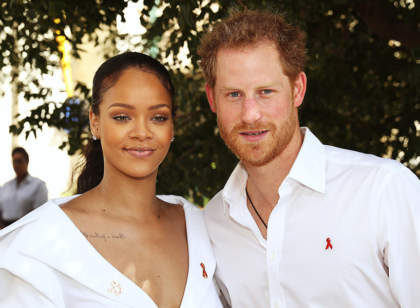 Rihanna Royal Wedding: Rihanna and Prince Harry wear white clothing in Barbados.