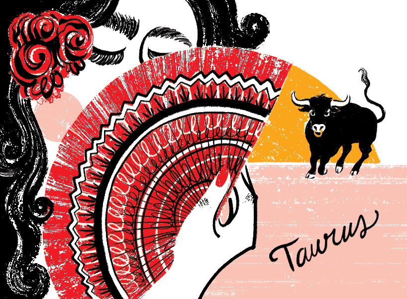 Summer romance astrological sign illustration Taurus