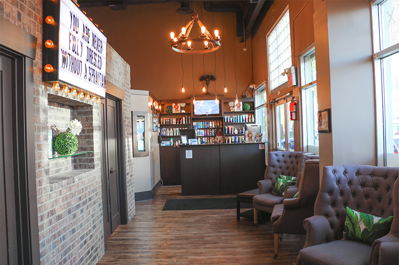 The front lobby of Calgary's Bronze Baxx Tanning, one of the best places to get a spray tan in Canada