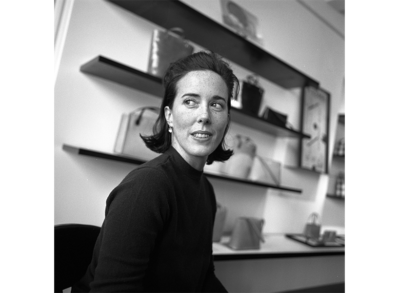 A portrait of Kate Spade in black and white